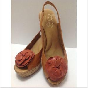 Irene Peep Toe Leather Sandals w/Rose on Toe Sz 10